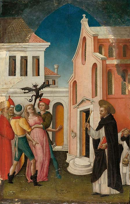 'Saint Peter Martyr Exorcizing a Woman Possessed by a Devil', 1445/55 by Antonio Vivarini. (Art Institute Chicago)