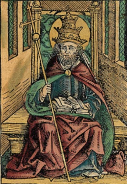 Saint Peter portrayed as a Pope in the Nuremberg Chronicle (1493) (Public Domain)
