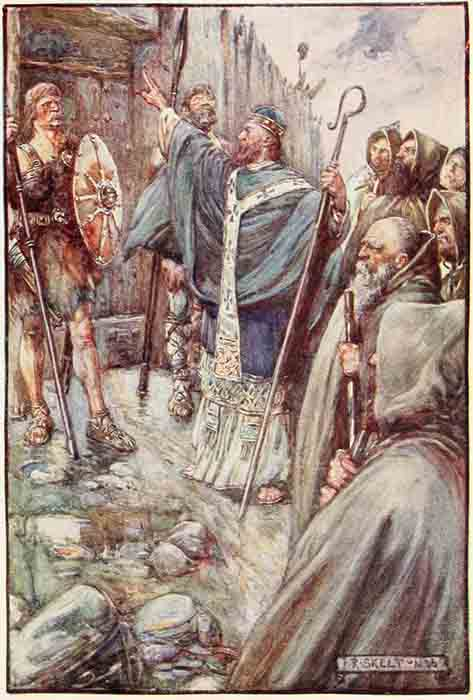 Saint Columba making the sign of the cross at the gate of Bridei, son of Maelchon, King of Fortriu. (Public Domain)