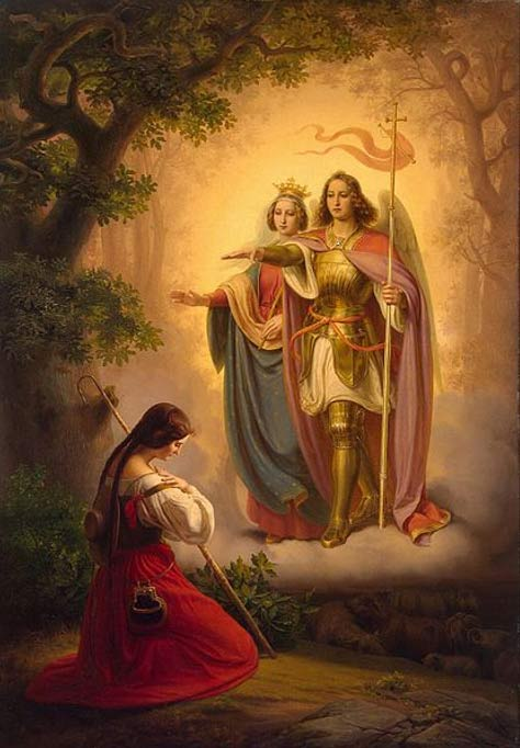 The Appearance of Saints Catherine and Michael to Joan of Arc. (1843) By Hermann Anton Stilke.