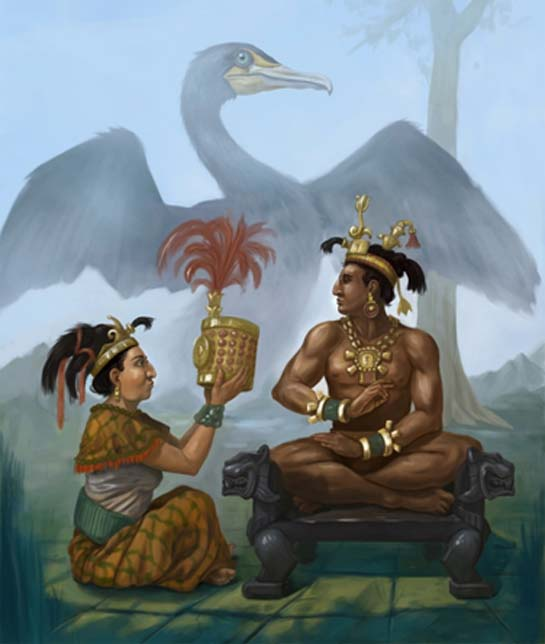 Sak K'uk offering symbol of rulership to her son K'inich Janaab Pakal, father of K'inich Kan Bahlam II. Lady Cormorant in her bird spirit form guides them. Artist drawing for author's book cover.
