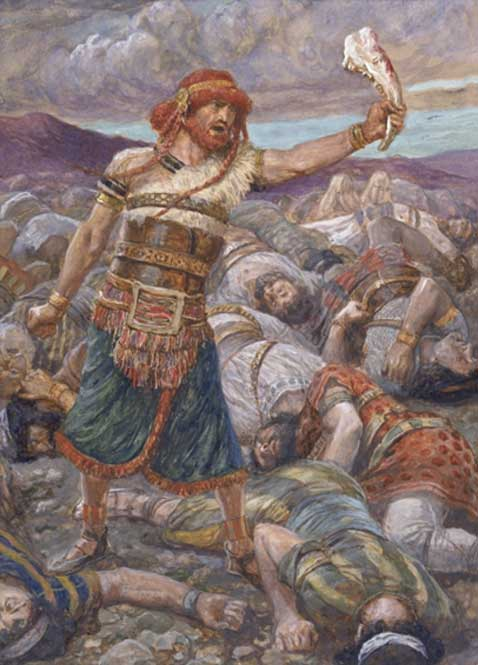 Samson Slays a Thousand Men with the Jawbone of a Donkey (c. 1896–1902) by James Tissot. (Public Domain)