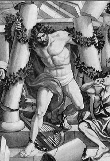 Samson destroys the temple. (Public Domain)