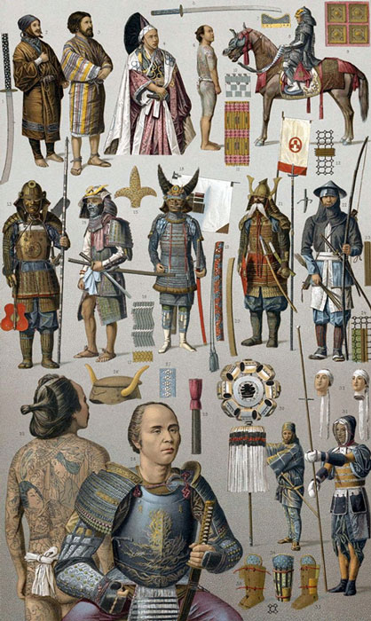 Samurai warriors with various types of armor and weapons, 1880s