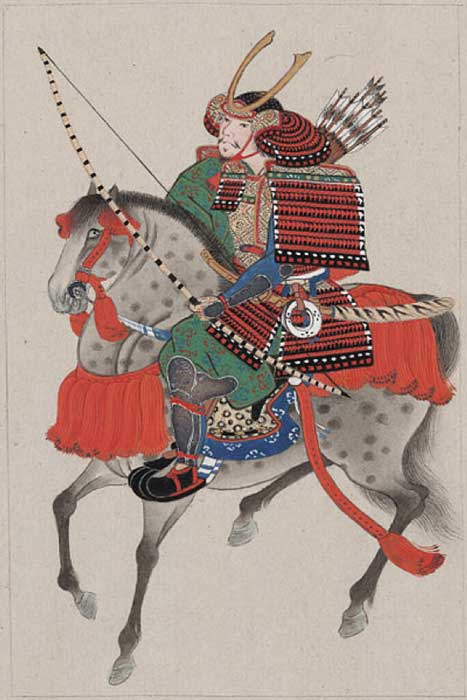 Samurai on horseback, wearing armor and horned helmet, carrying bow and arrows. (Public Domain)