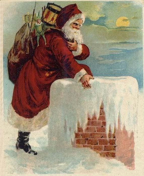 'Santa coming down the chimney.' (Public Domain)