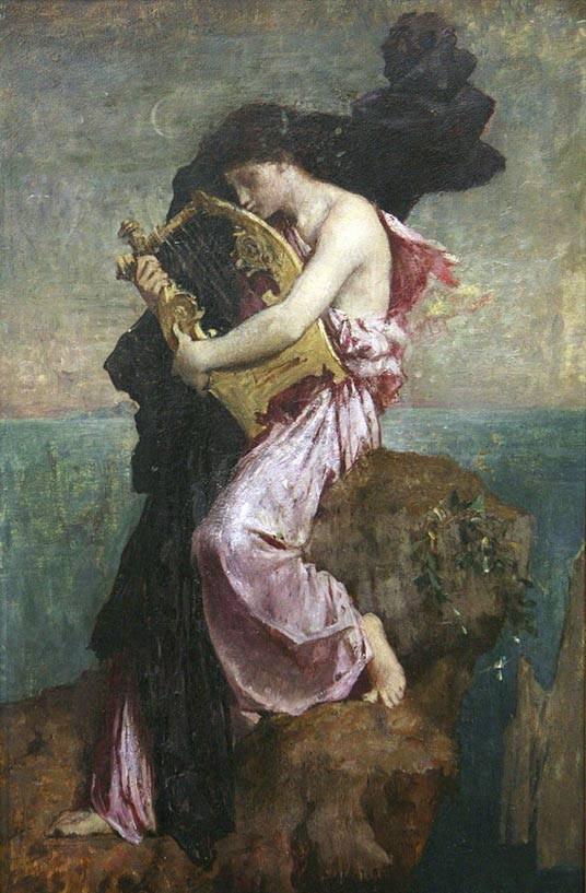 Sappho and her lyre.