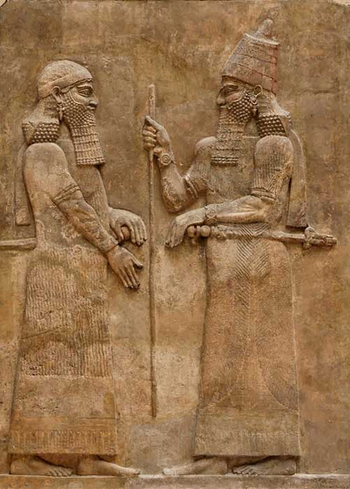 Sargon II and dignitary. Palace of Sargon II at Dur Sharrukin in Assyria (now Khorsabad in Iraq), c. 716–713 BC.