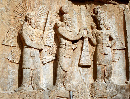 Sassanid emperor Shapur II (center) with Mithra (left) and Ahura Mazda
