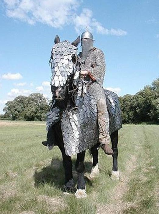Historical re-enactment of a Sassanid-era cataphract, complete with a full set of scale armor for the horse. Note the rider's extensive mail armor, which was de rigueur for the cataphracts of antiquity.