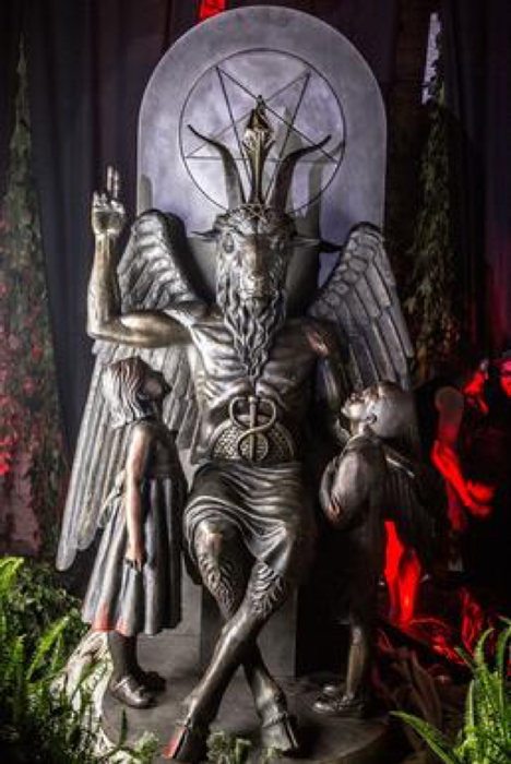 "The Satanic Temple's ""Baphomet"" statue during its unveiling in Detroit in July of 2015 (photo taken by Matt Anderson). (Fair Use)"