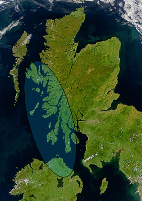 Satellite image of Scotland and Ireland showing the approximate area of Dál Riata (shaded). The mountainous spine which separates the east and west coasts of Scotland can be seen.