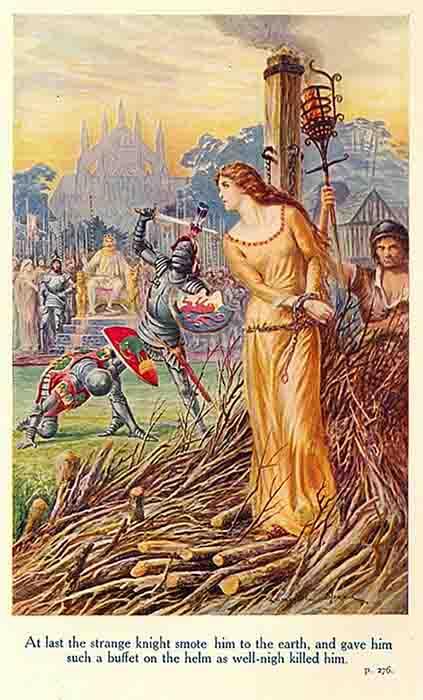 """Sir Lancelot salva a Ginebra. """"Por fin, el extraño caballero lo derribó a la tierra y le dio un bicho en el timón, así que la noche lo mató"""". (Dominio público)"""