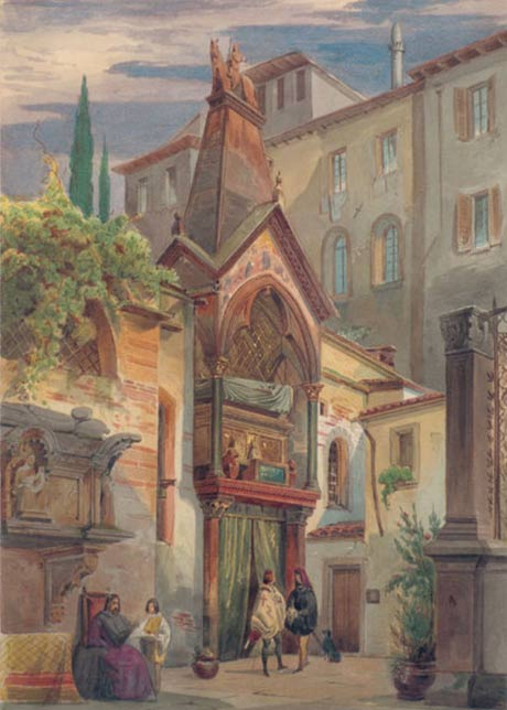 Scaliger Tombs in Verona by Eduard Gerhardt, where Cangrande della Scala was buried
