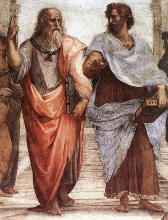 Plato (left) and Aristotle (right), a detail of The School of Athens, a fresco by Raphael. Aristotle gestures to the earth, representing his belief in knowledge through empirical observation and experience, while holding a copy of his Nicomachean Ethics in his hand, whilst Plato gestures to the heavens, representing his belief in The Forms, while holding a copy of Timaeus