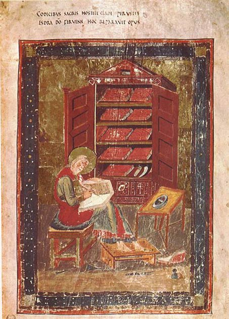 Ezra the Scribe, from the Codex Amiatinus, credited as being the first person to read the Torah publically in the 6th century BC, following the Babylonian captivity. (Public domain)