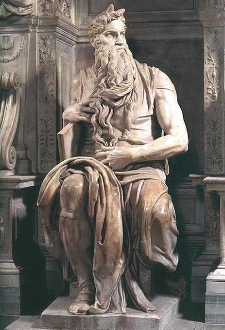 Sculpture depicting Moses by Michelangelo.
