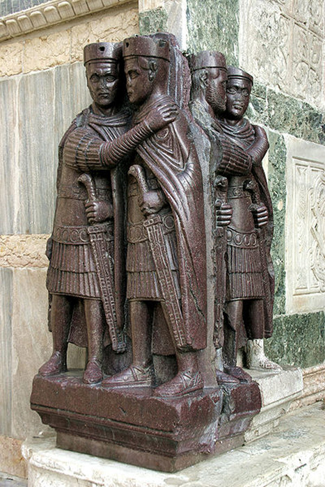 Sculpture of tetrarchs embracing in a sign of harmony (4th century). Produced in Asia Minor, today this sculpture is attached to a corner of Saint Mark's in Venice.