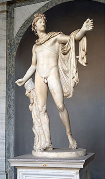 Sculpture portraying Greek god Apollo.
