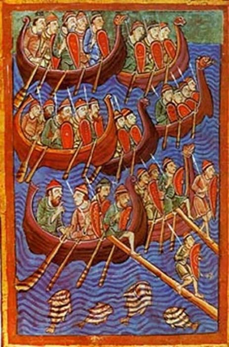 Sea-faring Danes depicted invading England. Illuminated illustration from the 12th century Miscellany on the Life of St. Edmund. (Public Domain)