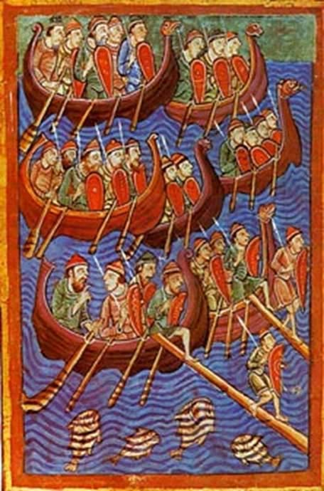 Sea-faring Danes depicted invading England. Illuminated illustration from the 12th century Miscellany on the Life of St. Edmund (Public Domain)