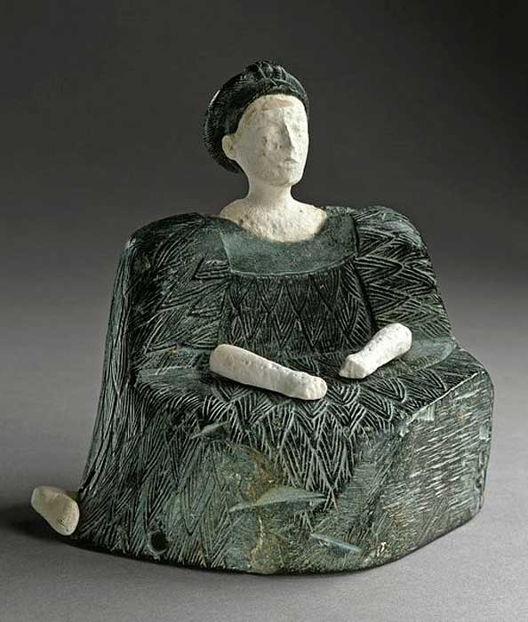 Seated Female Figure, chlorite and limestone, Bactria, 2500–1500 BC LACMA.