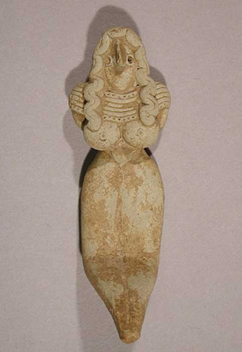Seated Mother Goddess, 3000–2500 BC. Pakistan (Baluchistan) Mehrgarh style. (CC0)