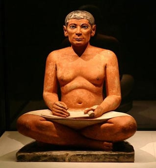 The Seated Scribe, a statue from Saqqarah dated 2600–2350 BC
