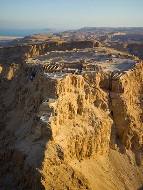 Seige of Masada Aerial view of Masada in the Judaean Desert, Modern Israel