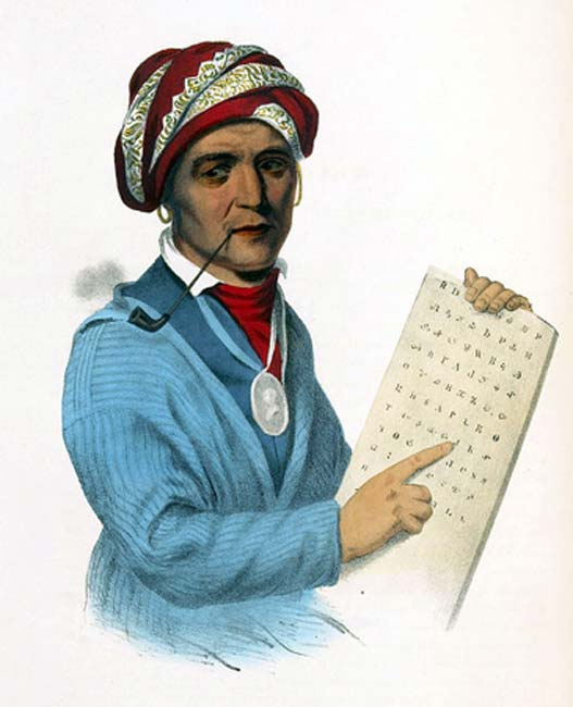 Sequoia with a tablet depicting his writing system for the Cherokee language. 19th-century print of a painting. (Public Domain)