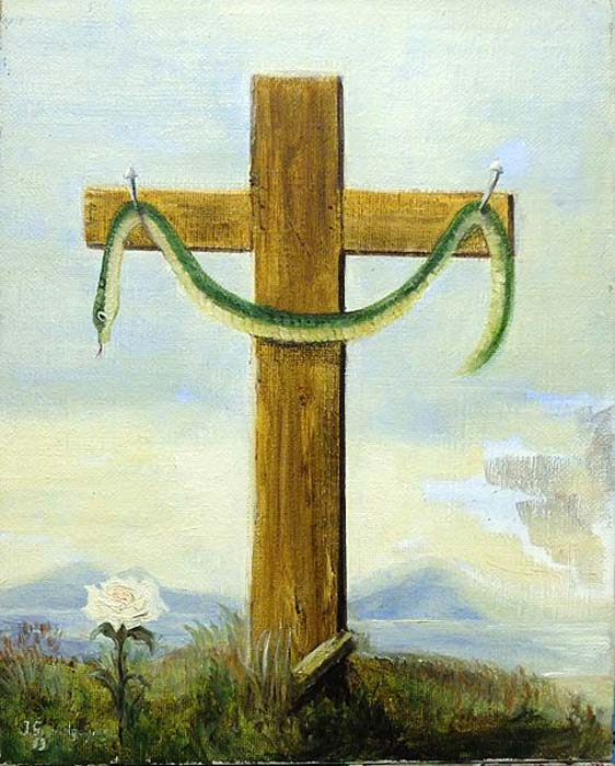 The Serpent on the Cross - The Crucified Serpent, after an illustration in the notebook of Nicolas Flamel