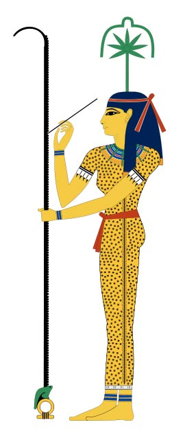 Seshat, the ancient Egyptian goddess of record-keeping and measurement. On her head is a cannabis leaf and flower.