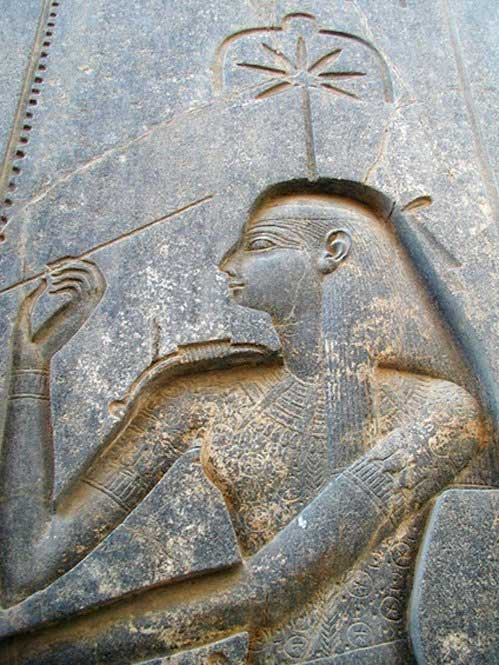 Seshat carved on the back of the throne of the seated statue of Rameses II in the Amun temple at Luxor. (CC0 1.0 )