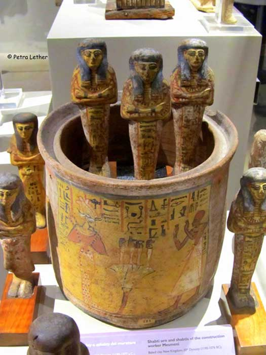 Shabtis come in many shapes, sizes and colors, as do their containers. This interesting shabti urn made of baked clay and its figurines are inscribed for the construction worker, Mesmeni. 20th Dynasty. Museo Egizio, Turin, Italy. (Image: Petra Lether)