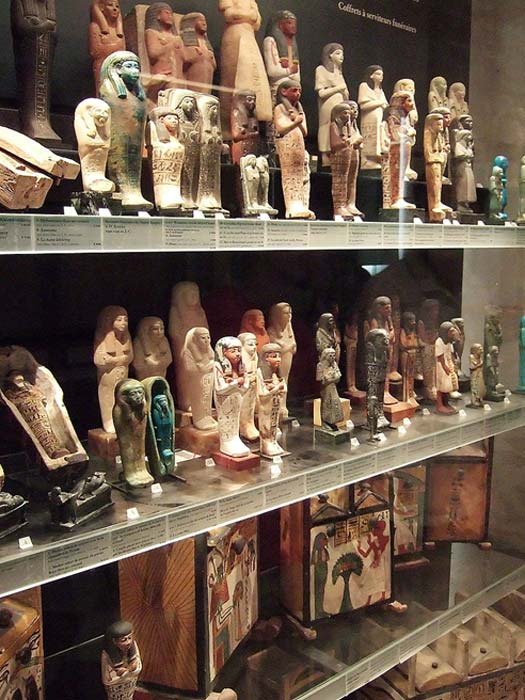 Shabtis in the Louvre Museum, Paris.