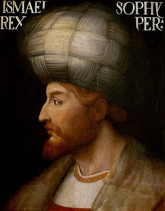 Shah Ismail I. Medieval European rendering by an unknown Venetian artist. The original rendering is kept in the Uffizi Gallery museum in Florence, Italy. (Public Domain)