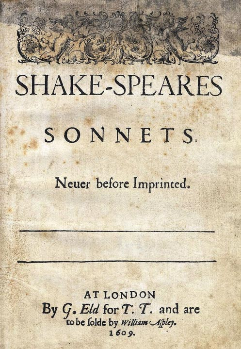 Title page from 1609 edition of Shake-Speares Sonnets.