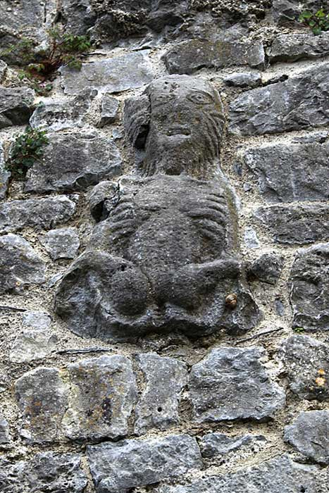 Sheela na gig at the site of the old Watergate near to Court Castle, Ireland
