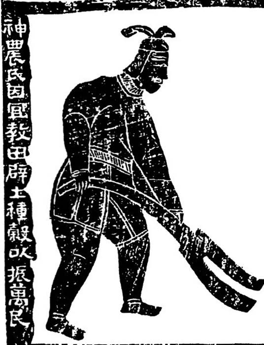 Shennong, the Farmer God. Inscription reads: 'The Farmer God taught agriculture based on land use; he opened up the land and planted millet to encourage the myriad people.' Mural painting from Han Dynasty.