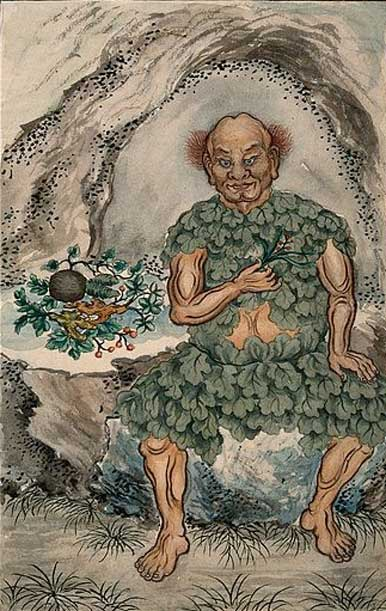 Shennong seated at the mouth of a cave while dressed in traditional clothing made from leaves. He is holding a branch with leaves and berries in his right hand.