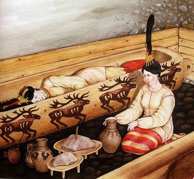 Reconstruction of the Siberian Maiden burial