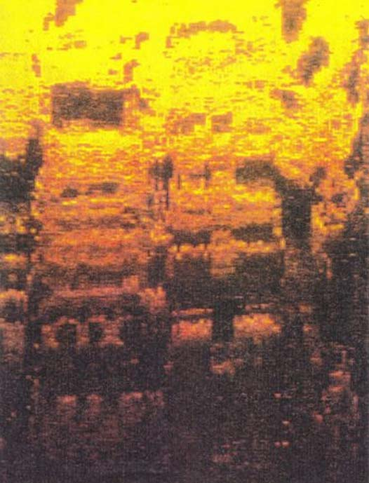 Side sonar scan of a pyramid complex off the Bimini coast. Depth is over 100 feet. (Images provided by William Donato and ARE).