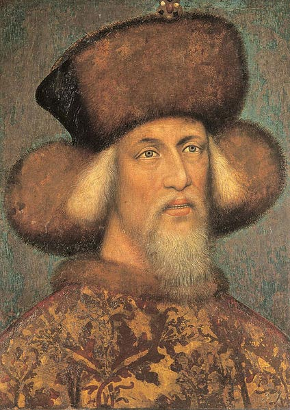 Sigismund, aged approximately 50, in a painting traditionally attributed to Pisanello.