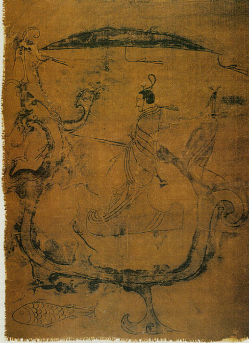 Silk painting featuring a man (a wizard) asking a dragon to go to the sky, dated to 5th century BC (Warring States period). (Public Domain)