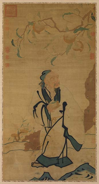 Silk tapestry from the Ming dynasty of Dongfang Shuo stealing a peach of immortality. The legend is based on the historical Dongfang Shuo, (c. 160 BC – 93 BC), a Han dynasty official who worked in the court of Emperor Wu.