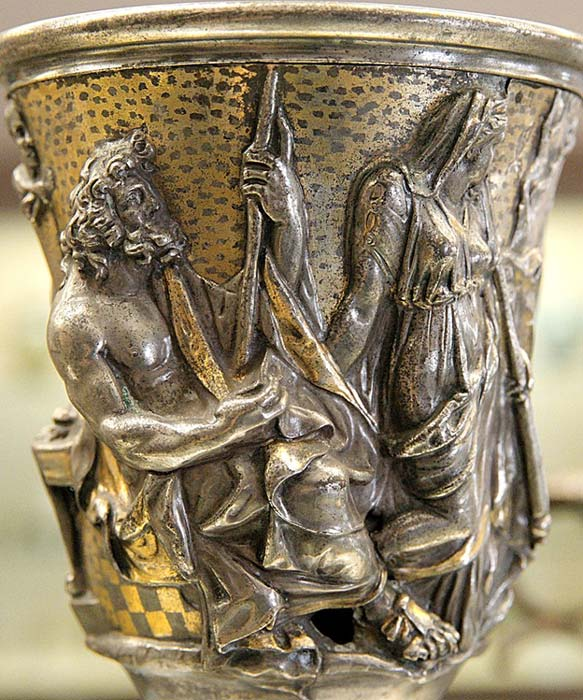 Silver jug made in Italy, with votive inscription from Q. Domitius Tutus to Mercury.