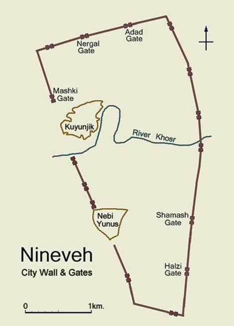 Simplified plan of ancient Nineveh showing city wall and location of gateways.
