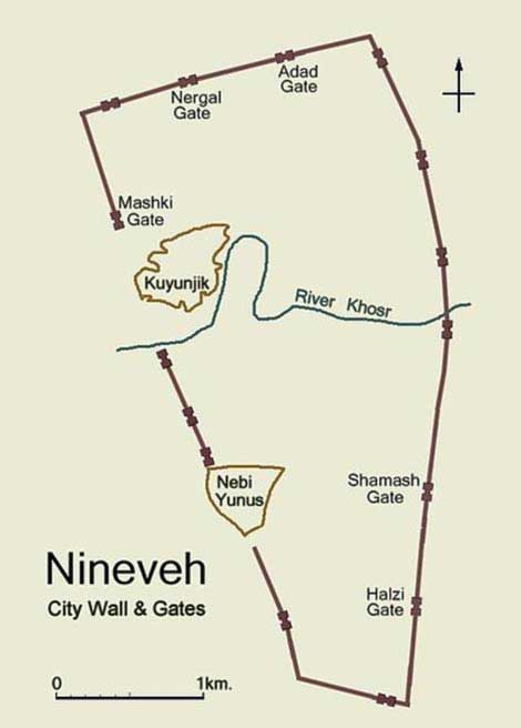 Simplified plan of ancient Nineveh showing city wall and location of gateways. Image created by Fredarch