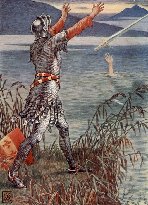 Sir Bedevere Casts the Sword Excalibur into the Lake, by the nineteenth-century English artist Walter Crane.