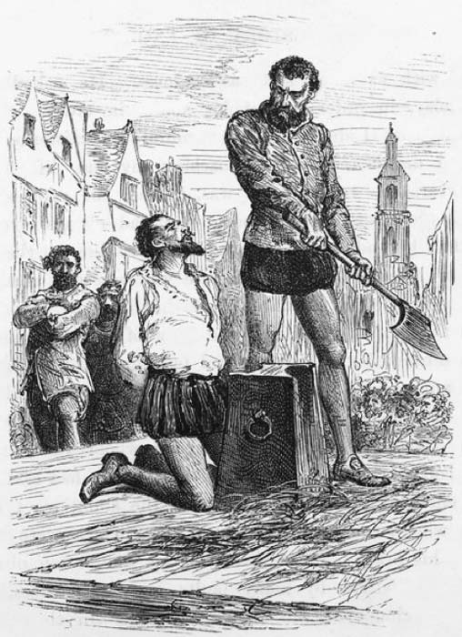 Sir Walter Raleigh's execution via decapitation of his head.  (Public Domain)